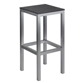 Haven Aluminum Outdoor Backless Barstool in Slate Grey Poly Wood, Brushed Aluminium