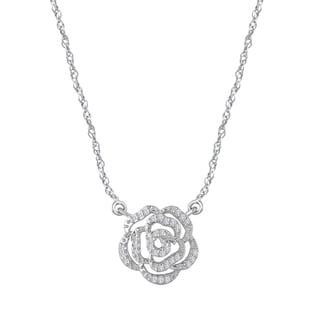 Rose Gold over Silver 1/10ct TDW Diamond Composite Flower Necklace (I-J, I1-I2)