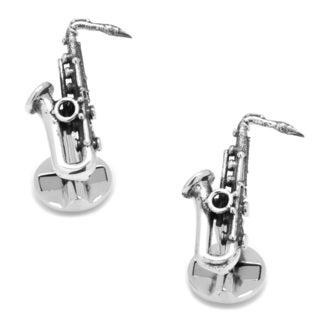 Antiqued Sterling Silver Saxophone Cufflinks