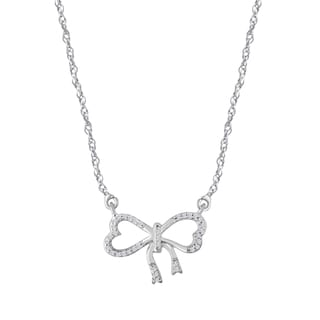 Sterling Silver 1/10ct TDW Diamond Fashion Bow Necklace (I-J, I2-I3)