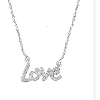 Sterling Silver 1/10ct TDW Diamond Love Heart Necklace (I-J, I2-I3)