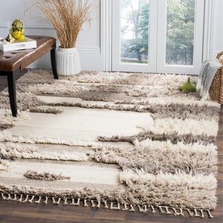 Safavieh Kenya Contemporary Hand-Knotted Ivory/ Grey Wool Rug (9' x 12')