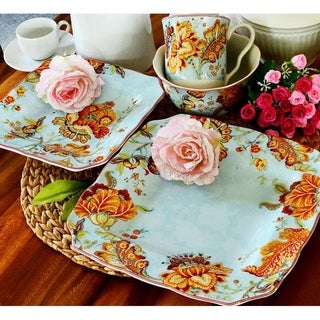 222 Fifth Gabrielle Blue 16-piece Dinnerware Set