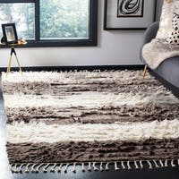 Safavieh Kenya Contemporary Hand-Knotted Ivory/ Grey Wool Rug - 9' x 12'