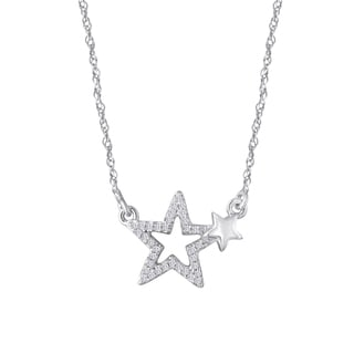 Sterling Silver 1/10ct TDW Diamond Double Star Drop Necklace (I-J, I2-I3)