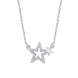 Sterling Silver 1/10ct TDW Diamond Double Star Drop Necklace - White I-J