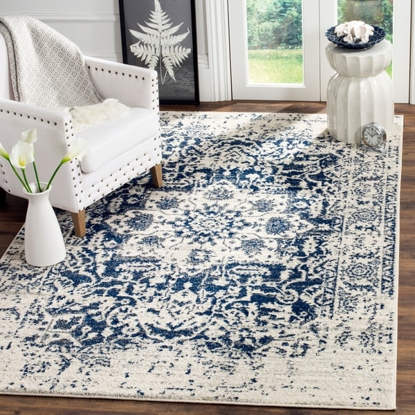 Shop Safavieh Madison Vintage Boho Medallion Cream Navy Rug 9 X