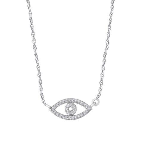 Sterling Silver 1/10ct TDW Evil Eye Diamond Fashion Necklace