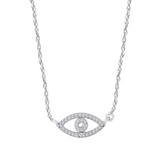 Sterling Silver 1/10ct TDW Evil Eye Diamond Fashion Necklace (I-J, I1-I2)