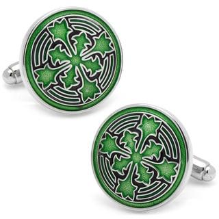 Green Brass Firenze Petal Italian-style Cuff Links