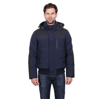Tahari Men's Blue Polyester Quilted Hooded Bomber Jacket