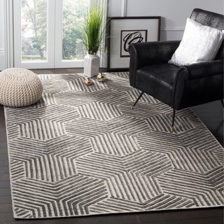 Safavieh Handmade Mirage Mid-Century Light Grey/ Charcoal Wool/ Viscose Rug (8' x 10')