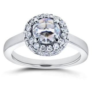 Annello by Kobelli 14k White Gold 1 2/5ct TCW Round Rose Cut Moissanite and Diamond Bead Prong Cluster Ring (GH, I1-I2)