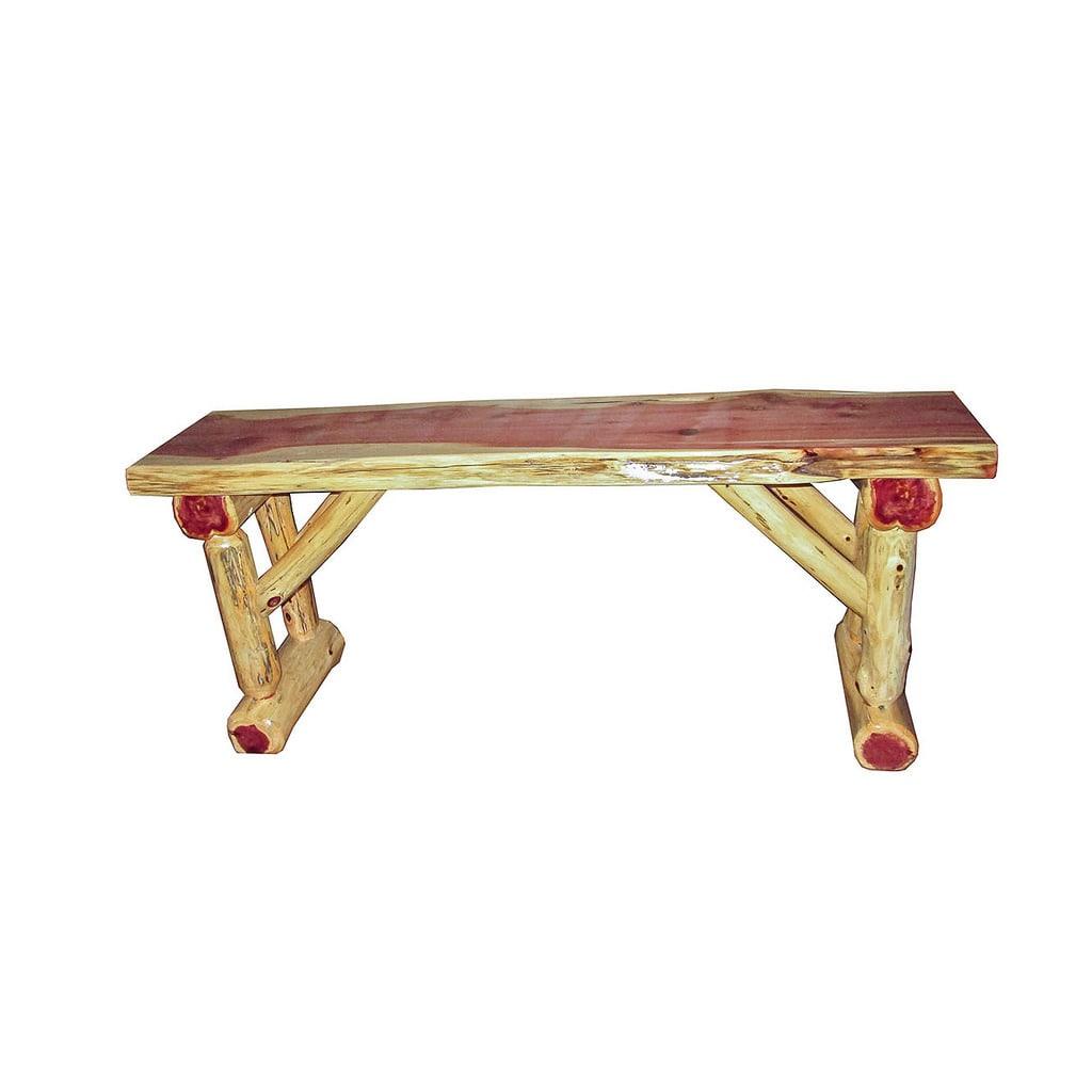 Red Cedar Log Dining/Hall Dining Bench (2 Foot), Tan, Siz...