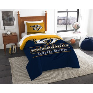 The Northwest Company Northwest Company NHL Nashville Predators Draft Blue and Yellow Twin 2-piece Comforter Set