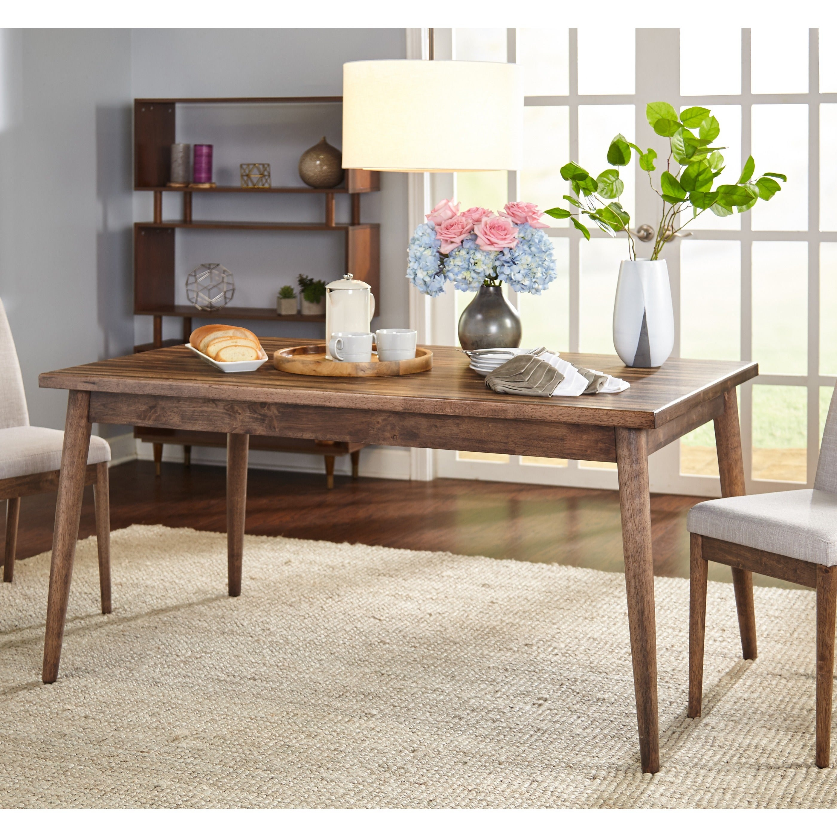 Simple Living Element Mid Century Dining Table   Walnut