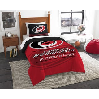 The Northwest Company NHL Hurricanes Draft Red, Black, and White Twin 2-piece Comforter Set