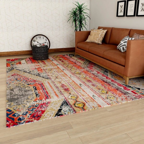 Safavieh monaco vintage bohemian light grey multi for Dining room rugs 9x12