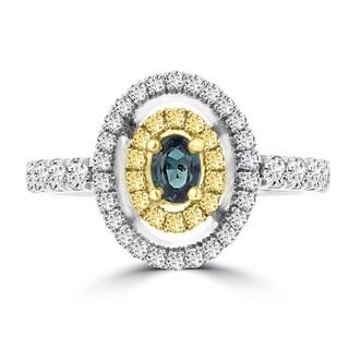 18k Two-tone Gold Brazilian Alexandrite and 5/8ct TDW Diamond Ring (G-H, VS1-VS2)