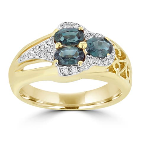 18k Yellow Gold Brazilian Alexandrite 1ct and Diamonds 0.2ct TDW Diamond Ring