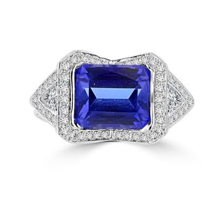 La Vita Vital 18k White Gold Tanzanite 4 1/10ct and Diamond 0.52ct TDW Ring