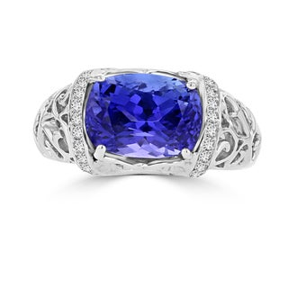 La Vita Vital 18k White Gold Tanzanite 4.09ct and Diamond 0.32ct TDW Ring