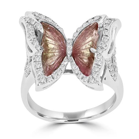 14k White Gold Natural Tourmaline 2 1/10ct and Diamond 0.39ct TDW Butterfly Ring by La Vita Vital