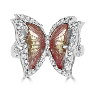 14k White Gold Natural Tourmaline 2 1/10ct and Diamond 0.39ct TDW Butterfly Ring by La Vita Vital (VS-SI1, G-H)