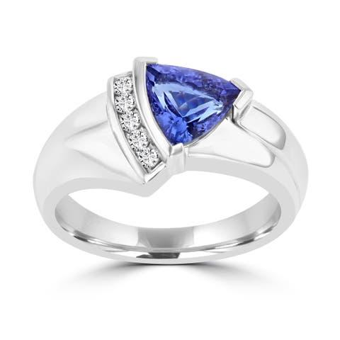 La Vita Vital 18k White Gold Trillion Tanzanite 1 1/2ct and Diamond 1/10ct TDW Ring