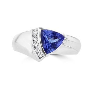 La Vita Vital 18k White Gold Trillion Tanzanite 1 1/2ct and Diamond 1/10ct TDW Ring