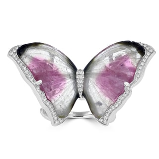 14k White Gold Natural Tourmaline 20.85cts and Diamond 0.37ct TDW Butterfly Ring by La Vita Vital (VS-SI1, G-H)