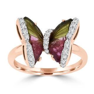 14k Rose Gold Natural Tourmaline 3.38cts and Diamond 0.22ct TDW Butterfly Ring by La Vita Vital (VS-SI1, G-H)