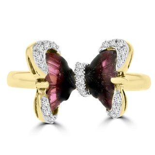 14k Yellow Gold Natural Tourmaline 1ct and Diamond 0.13ct TDW Butterfly Ring by La Vita Vital
