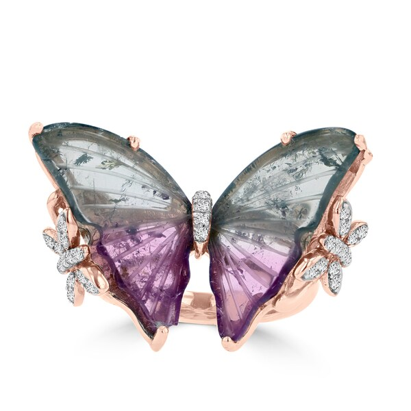 14k Rose Gold Natural Tourmaline 6.65cts and Diamond 1/5ct TDW Butterfly Ring by La Vita Vital - Pink