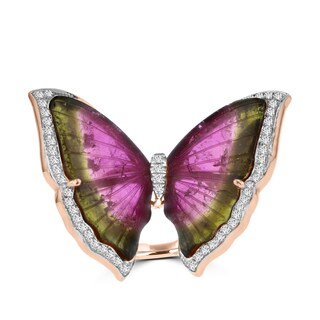 14k Rose Gold Natural Tourmaline 17 2/5ct and Diamond 0.47ct TDW Butterfly Ring by La Vita Vital (VS-SI1, G-H)