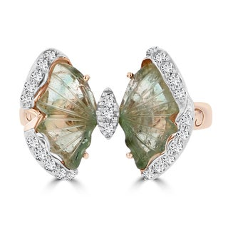 14k Rose Gold Natural Tourmaline 3.04cts and Diamond 0.22ct TDW Butterfly Ring by La Vita Vital (VS-SI1, G-H)