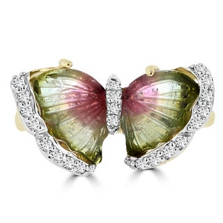 14k Yellow Gold Natural Tourmaline 2.92cts and Diamond 0.22ct TDW Butterfly Ring by La Vita Vital