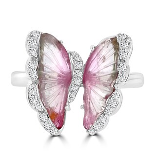 14k White Gold Natural Tourmaline 1.76cts and Diamond 0.22ct TDW Butterfly Ring by La Vita Vital (VS-SI1, G-H)