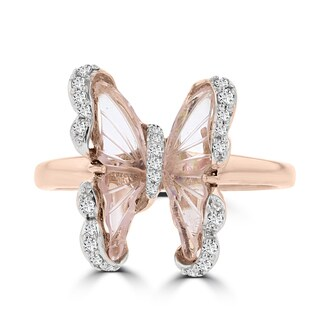 14k Rose Gold Natural Tourmaline 1.38cts and Diamond 0.15ct TDW Butterfly Ring by La Vita Vital (VS-SI1, G-H)