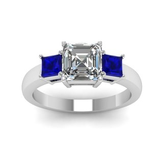 14k White Gold 3/4ct TDW Asscher-cut 3-stone Diamond and Sapphire Engagement Ring