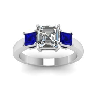 14k White Gold 3/4ct TDW Asscher-cut 3-stone Diamond and Sapphire Engagement Ring (F-G, VVS1-VVS2)