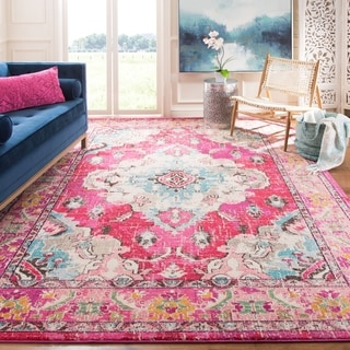Safavieh Monaco Bohemian Medallion Pink/ Multicolored Distressed Rug (10' x 14')