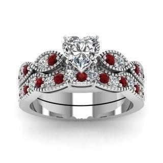 14k White Gold GIA-certified 1ct TDW Heart-cut Diamond and Ruby Milgrain Wedding Set (E-F, SI1-SI2)