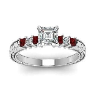 14k White Gold 5/8ct TDW Asscher-cut Filigree Diamond and Ruby Engagement Ring (F-G, VVS1-VVS2)