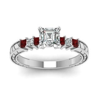 14k White Gold 5/8ct TDW Asscher-cut Filigree Diamond and Ruby Engagement Ring