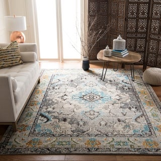 Safavieh Monaco Bohemian Medallion Grey / Light Blue Distressed Rug (9' x 12')