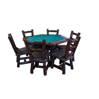 Red Cedar Log Hexagonal Game Table and 6 Chair Set
