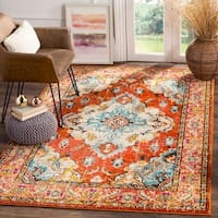 Safavieh Monaco Bohemian Medallion Orange/ Light Blue Distressed Rug - 9' x 12'