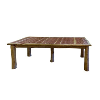 Red Cedar Log Traditional Extension Table with 4 Extending Leaves - Brown