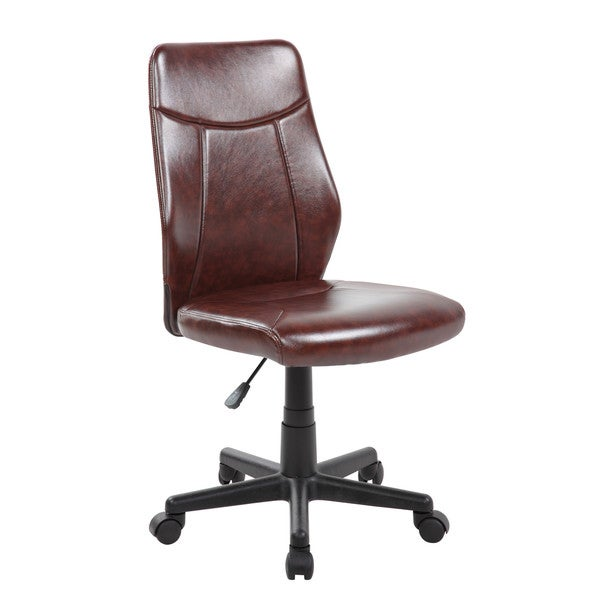 executive computer chair brown leather pu modern ergonomic midback armless executive computer desk task office chair shop